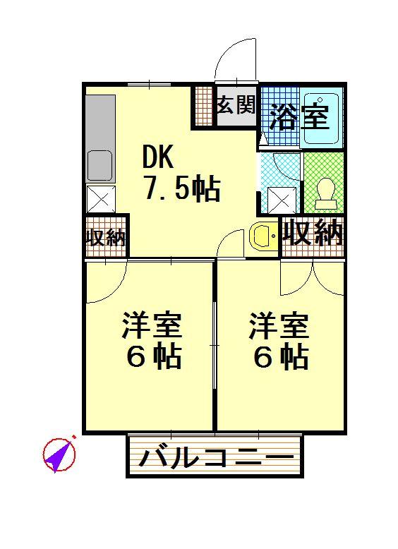 物件No.JS20065【千葉県佐倉市城 43000円】-間取図