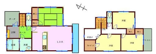 物件No.17908【千葉県八街市文違 980万円】-間取図