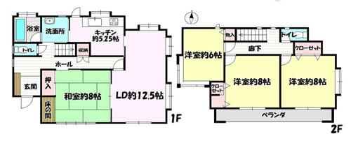 物件No.18182【千葉県佐倉市大崎台5-4 1780万円】-間取図
