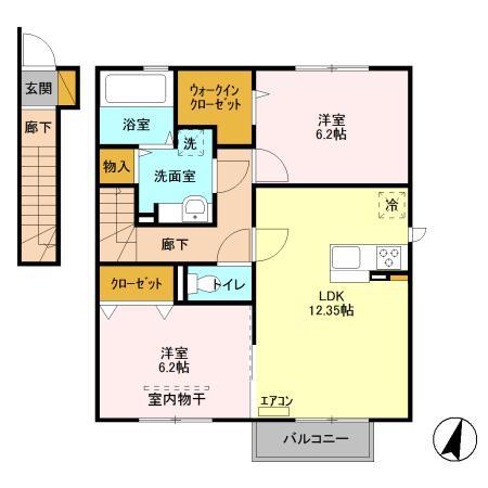 (賃貸)物件No.JM20036【千葉県四街道市もねの里5 75000円/月】-間取図