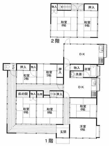物件No.19967【千葉県山武市井之内 980万円】-間取図